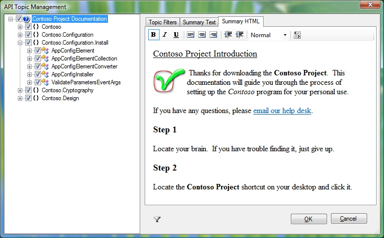 Figure 4: API Topic Management Dialog - Summary HTML Editor