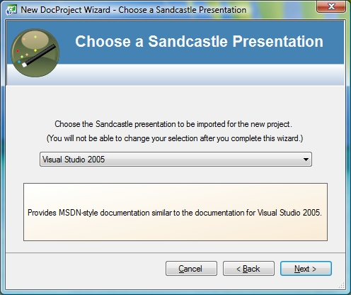 Figure 1: New Project Wizard - Chooose a Sandcastle Presentation