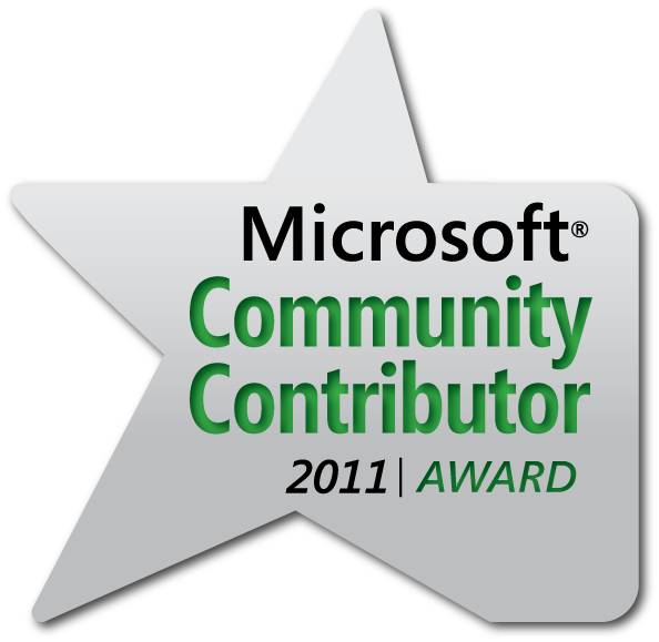 Microsoft Community Contributor Award for 2011