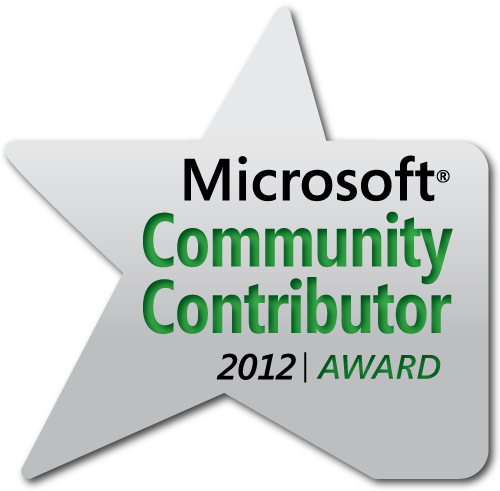Microsoft Community Contributor Award for 2012