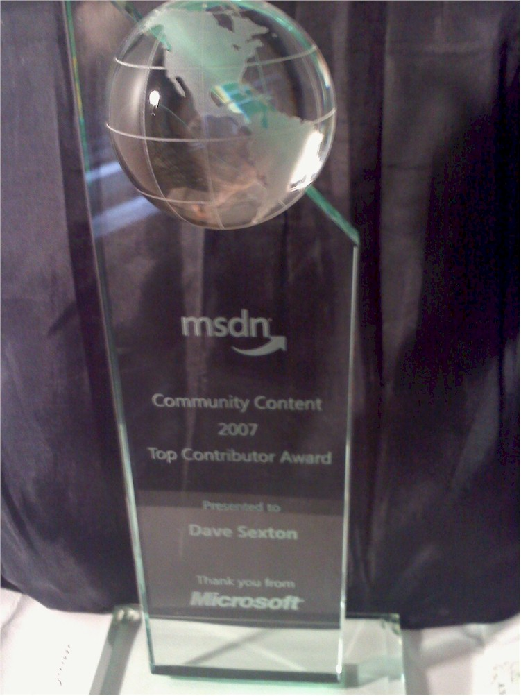 MSDN Community Content 2007 Top Contributor Award