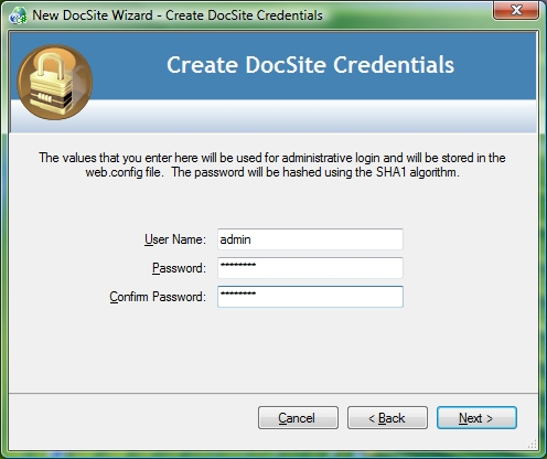 New Project Wizard - Create DocSite Credentials