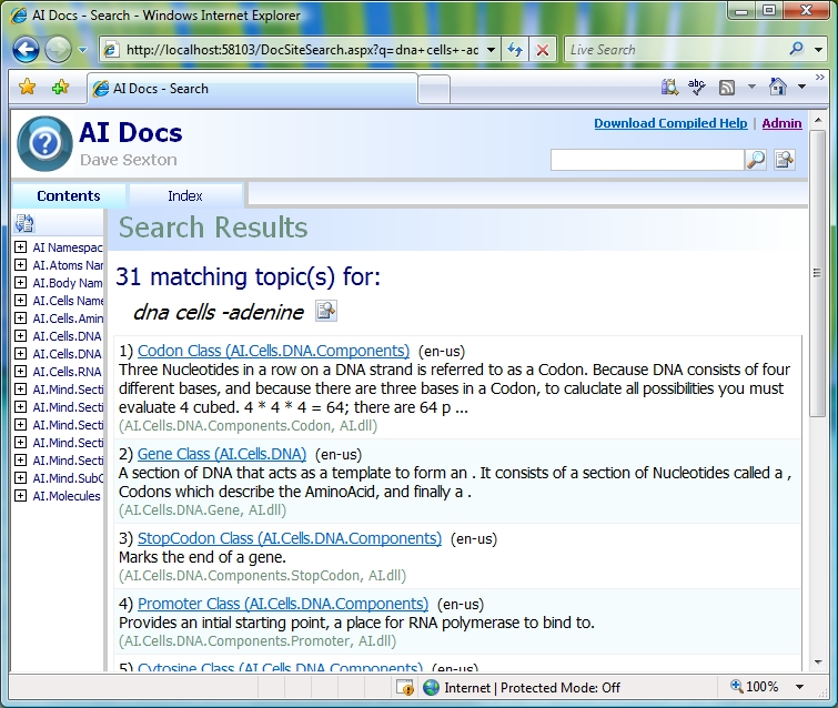 DocSite Search Page